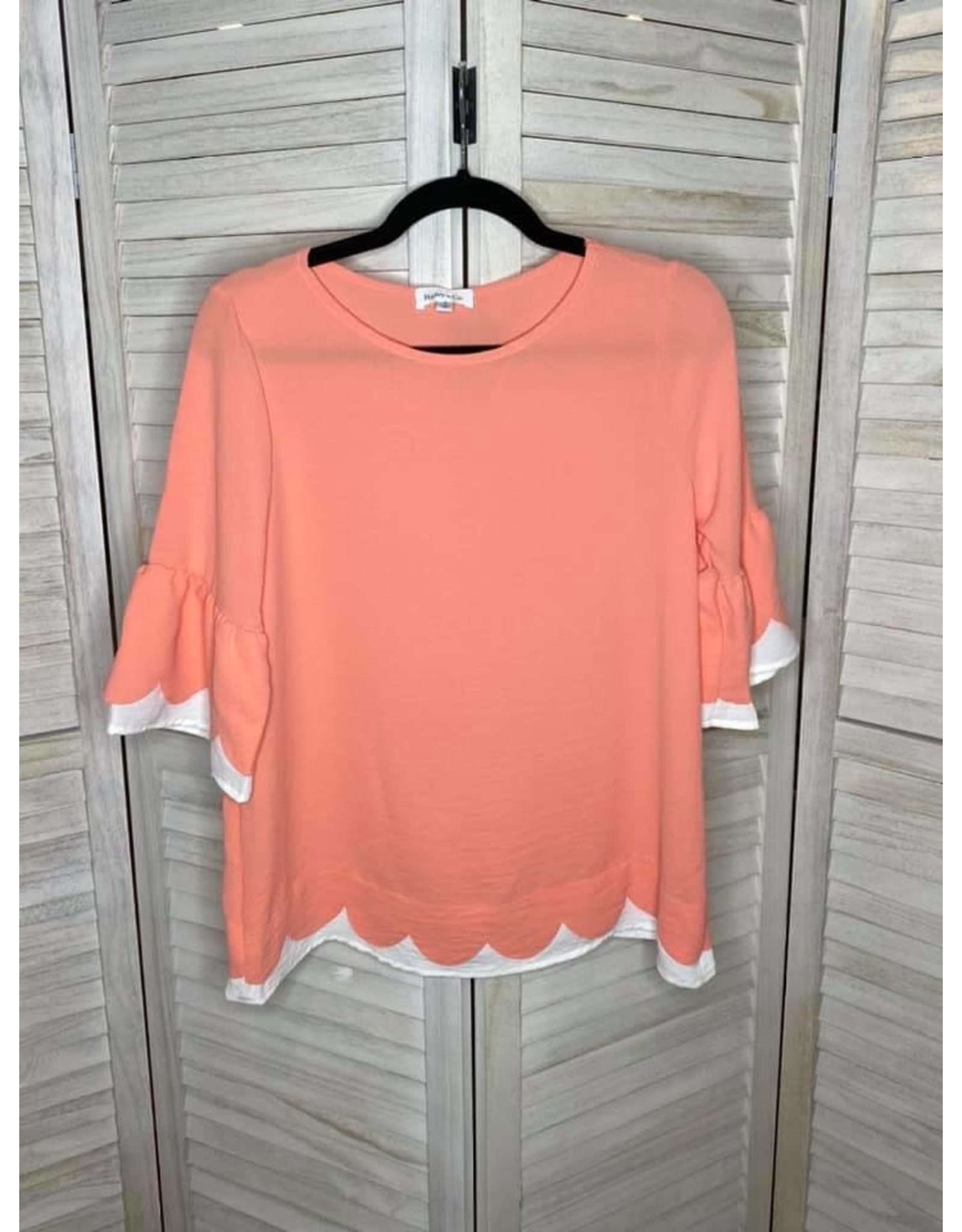 Hailey & Co Coral and Ivory Scalloped Hem and Ruffle Sleeve
