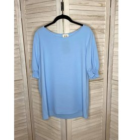 Macaron Light Blue Tunic with Puffed Elastic Band Sleeves