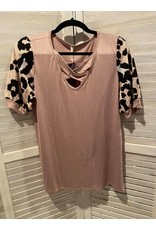 cezanne Taupe and Animal Print Waffle Sleeve Tunic with X Front
