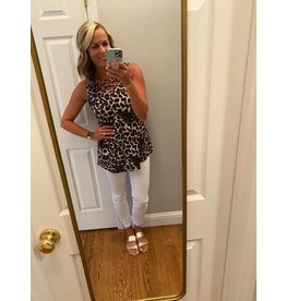 Heimish Leopard Sleeveless Tank with Criss Cross Front