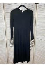 Beeson River Black Midi Dress with Leopard Tie Sleeve
