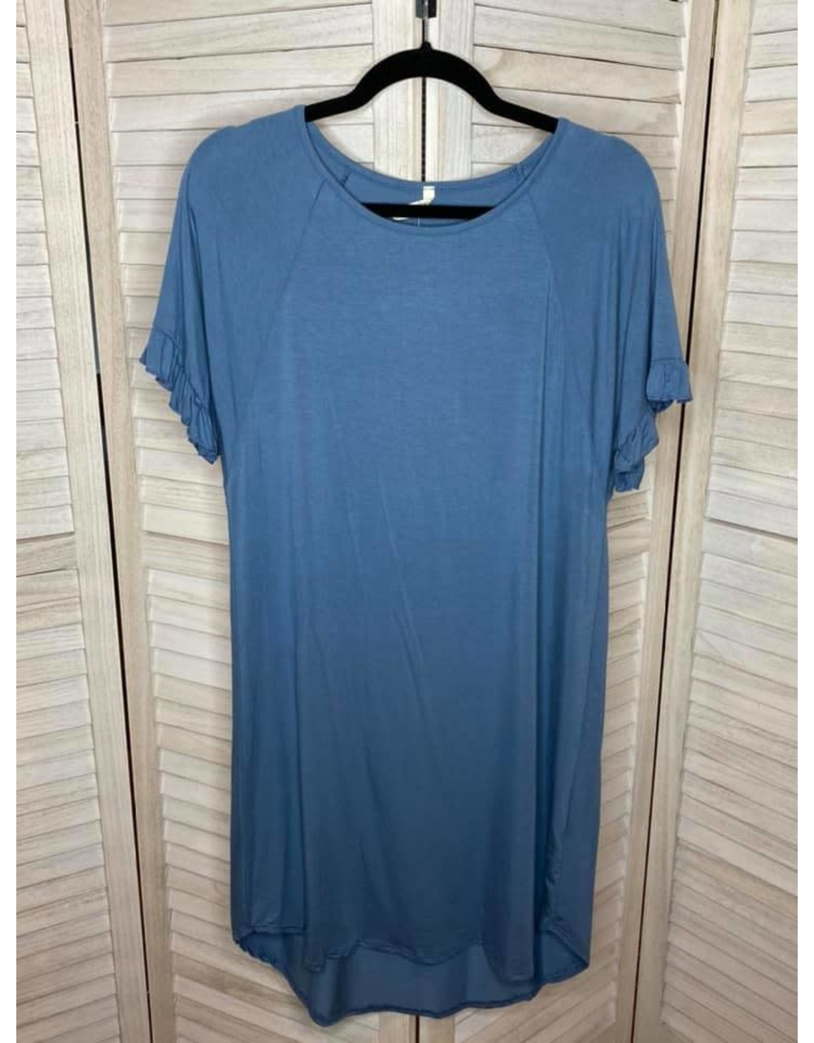 Beeson River Blue Raglan  Ruffle Sleeve Dress with Round Hem