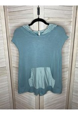 Emerald Dusty Blue Sleeveless Hoodie