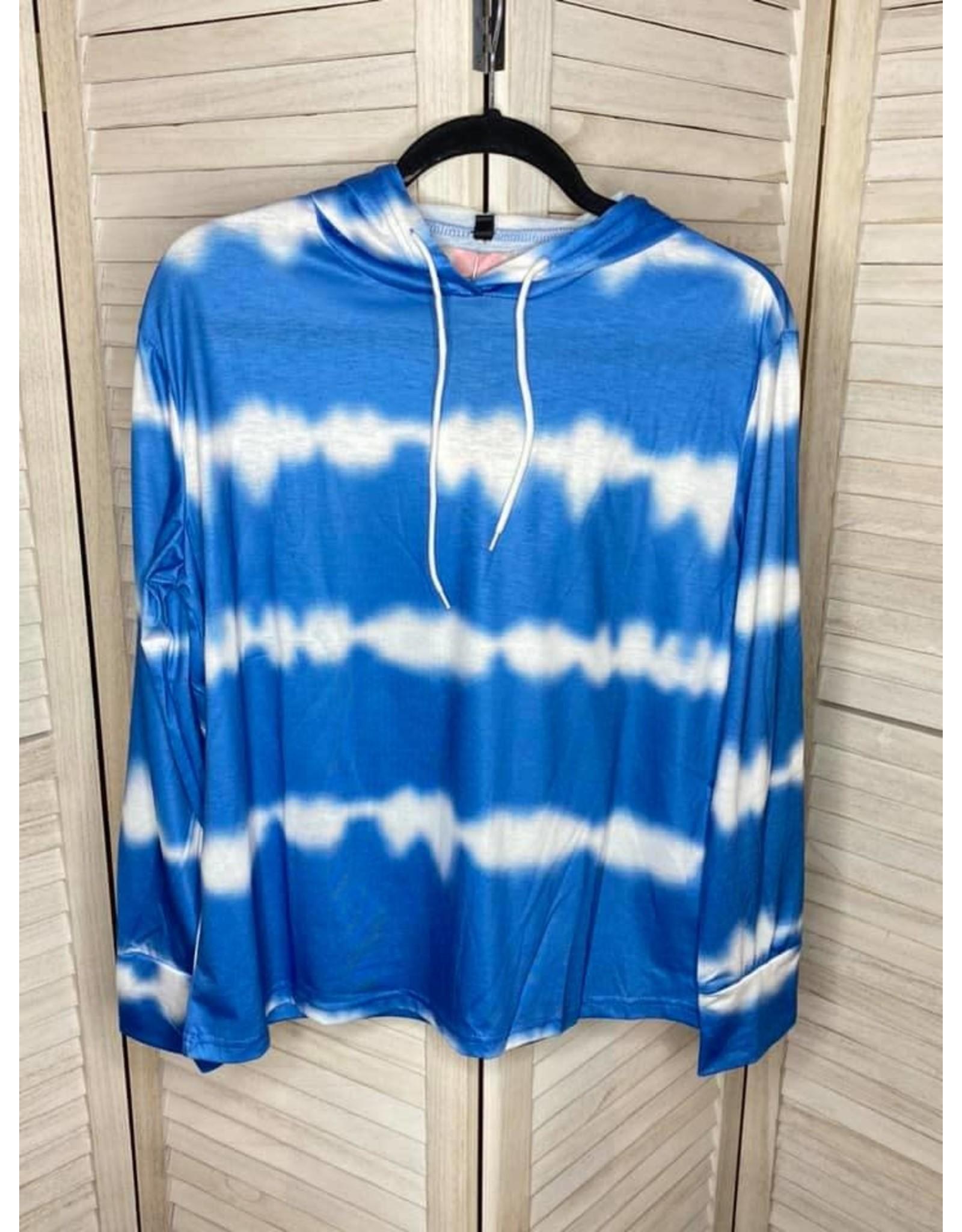 Esley Collection Blue Tie Dye Hoodie Top
