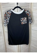 Esley Collection Black T-Shirt with Animal Print Sleeve and Pocket