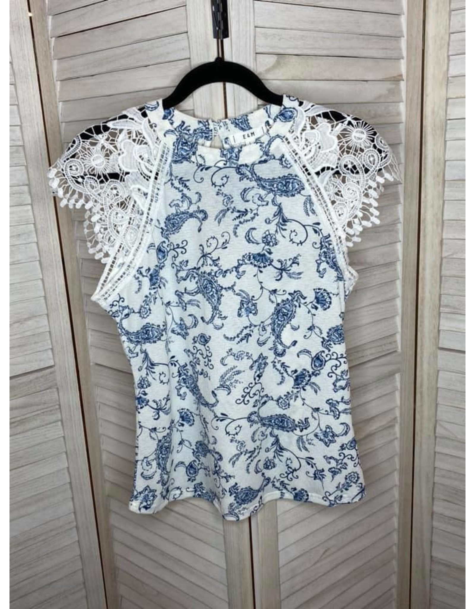 Blue Pepper Navy And White Print Round Neck Lace Cap Sleeve Top