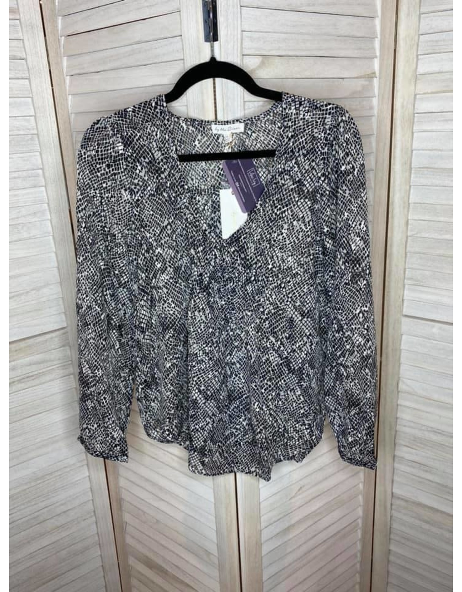 Blue Pepper Black And Cream Snakeskin Print V-Neck Button Front Long Sleeve Top