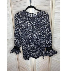 Jodifl Leopard Print Top Long Sleeve with Lace Detail