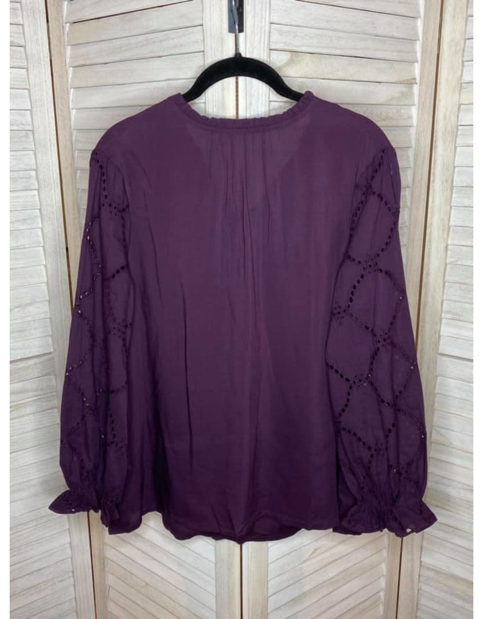 Jodifl Eggplant Top with Frilled High Neck and Long Eyelet Bubble Sleeves