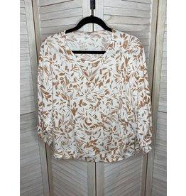 Jodifl Floral Print Top with Raglan Ruffle Sleeves Clay
