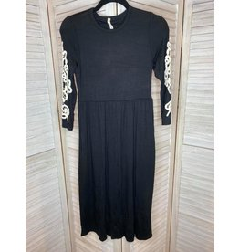 Beeson River Swing Dress with Crochet Lace Sleeves Black