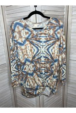 Crepas Tie Dye Twist Hem Long Sleeve Plus Top Tan and Blue - Plus