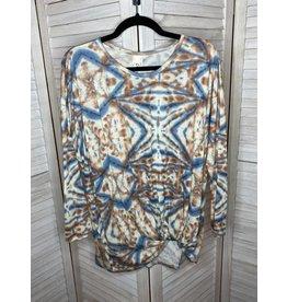 Crepas Tie Dye Twist Hem Long Sleeve Plus Top Tan and Blue - Plus