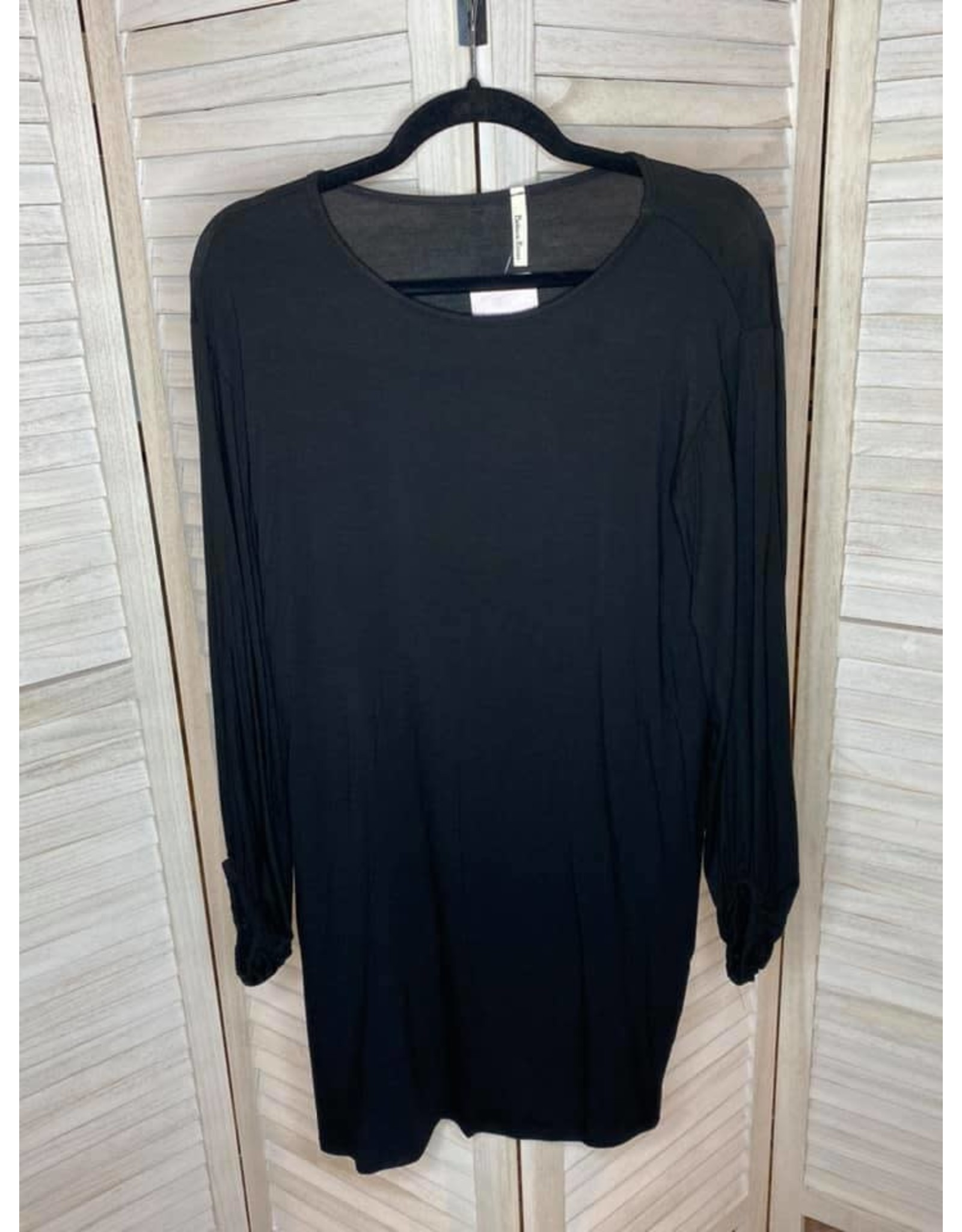 Beeson River Black Shift Dress With Pockets and Bishop Sleeves