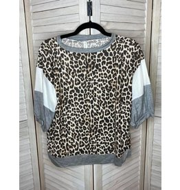 Emerald Animal Print with Color Block Sleeves