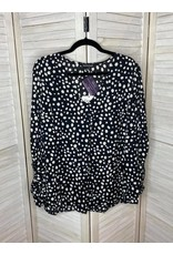 Davi & Dani Polka Dot V Neck Tunic with Bishop Sleeves - Plus