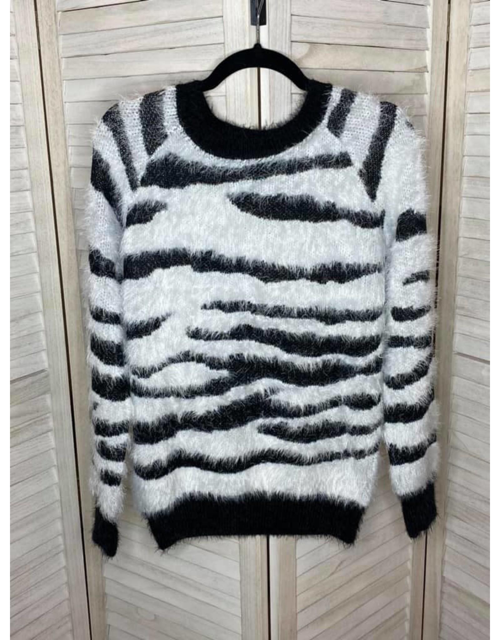 Doe & Rae Fuzzy Zebra Sweater
