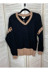 Umgee Multicolor Pullover Detachable Button Long Sleeve Sweater Black