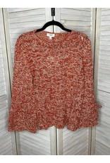 Umgee Long Bell Sleeve Crochet Pullover Orange