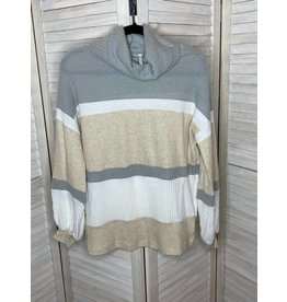 My Story Long Sleeve Waffle Knit Mockneck Color Block  Top   Taupe               t