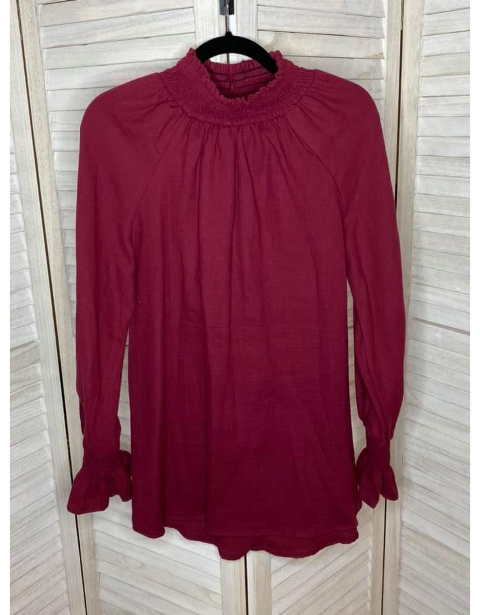 Umgee Smocked Oversized Loose Fit Top Wine