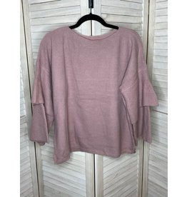 Umgee Layered Ribbed Ruffle Sleeve Knit Pullover Sweater