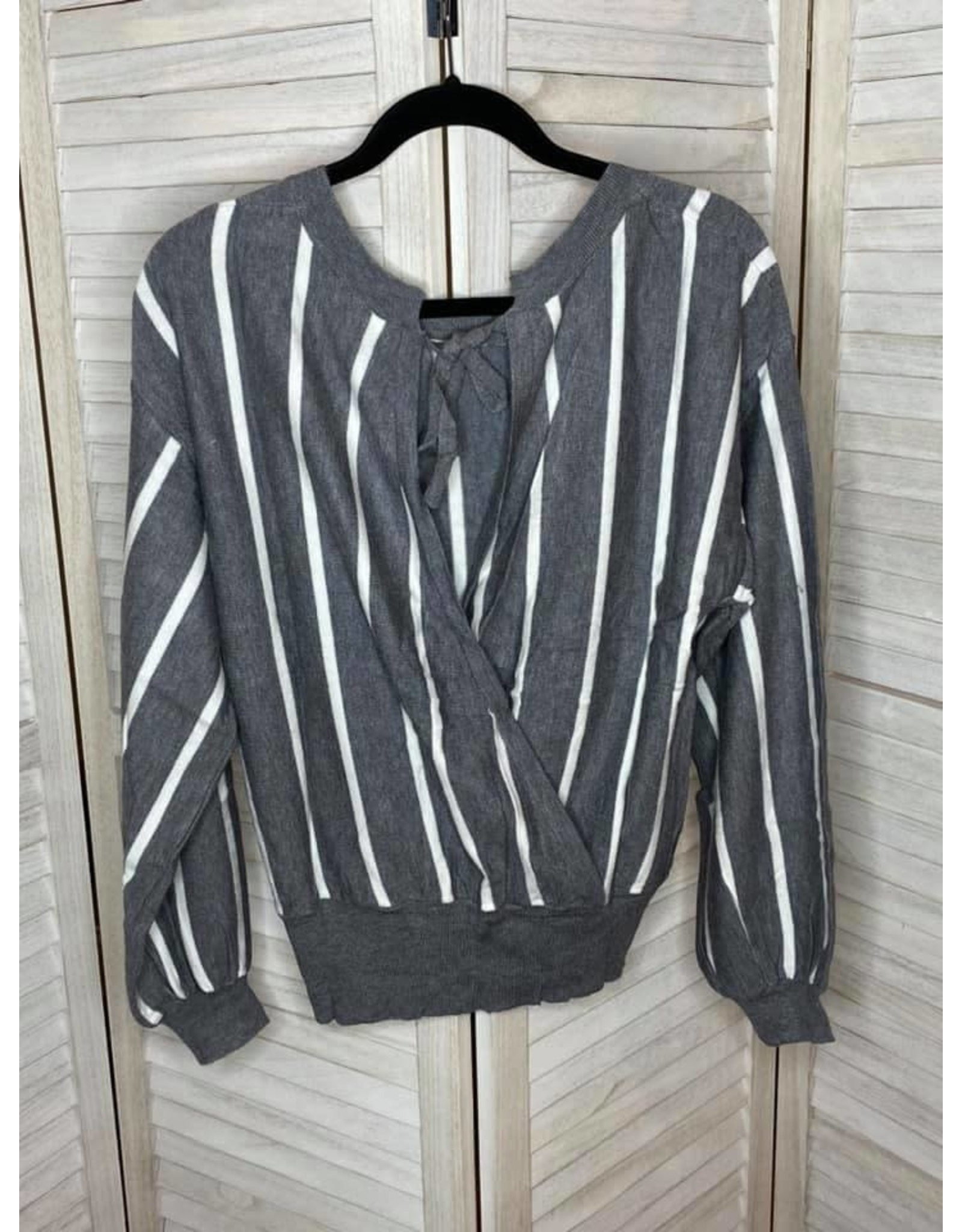 Umgee Striped Puff Sleeve Knit Pullover Sweater with Ribbed Hem and Back Tie Gray