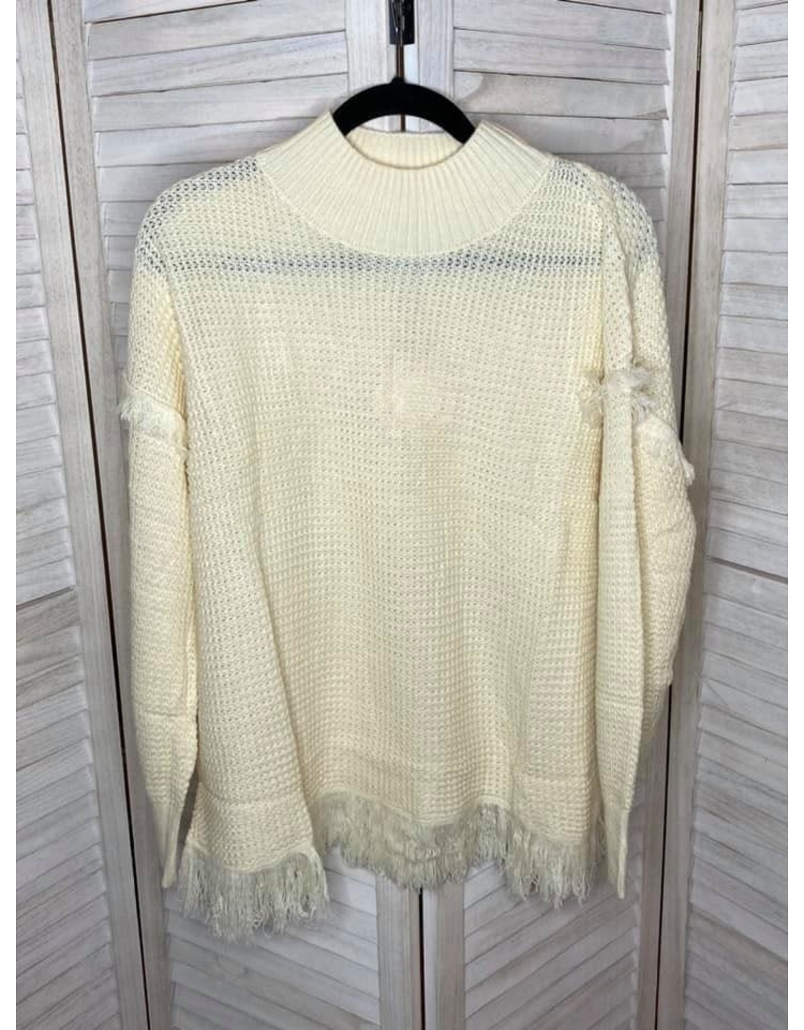 Umgee Waffle Knit Mock Neck Pullover Sweater with Frayed Hem