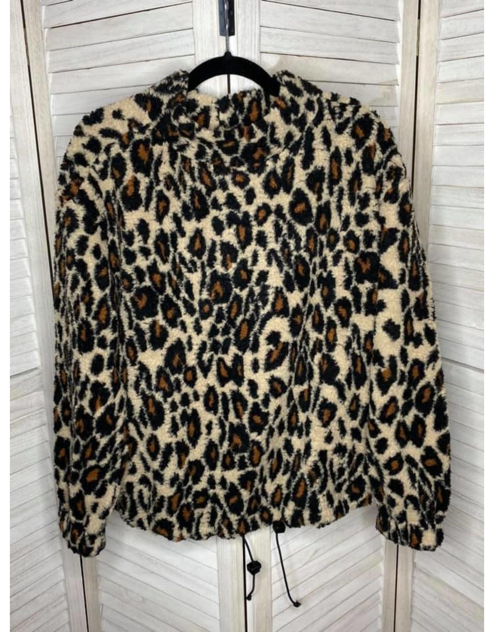 Kori America Leopard Mock Neck Sherpa Top/Coat