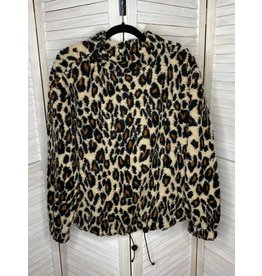 Kori America Leopard Mock Neck Sherpa Top/Coat