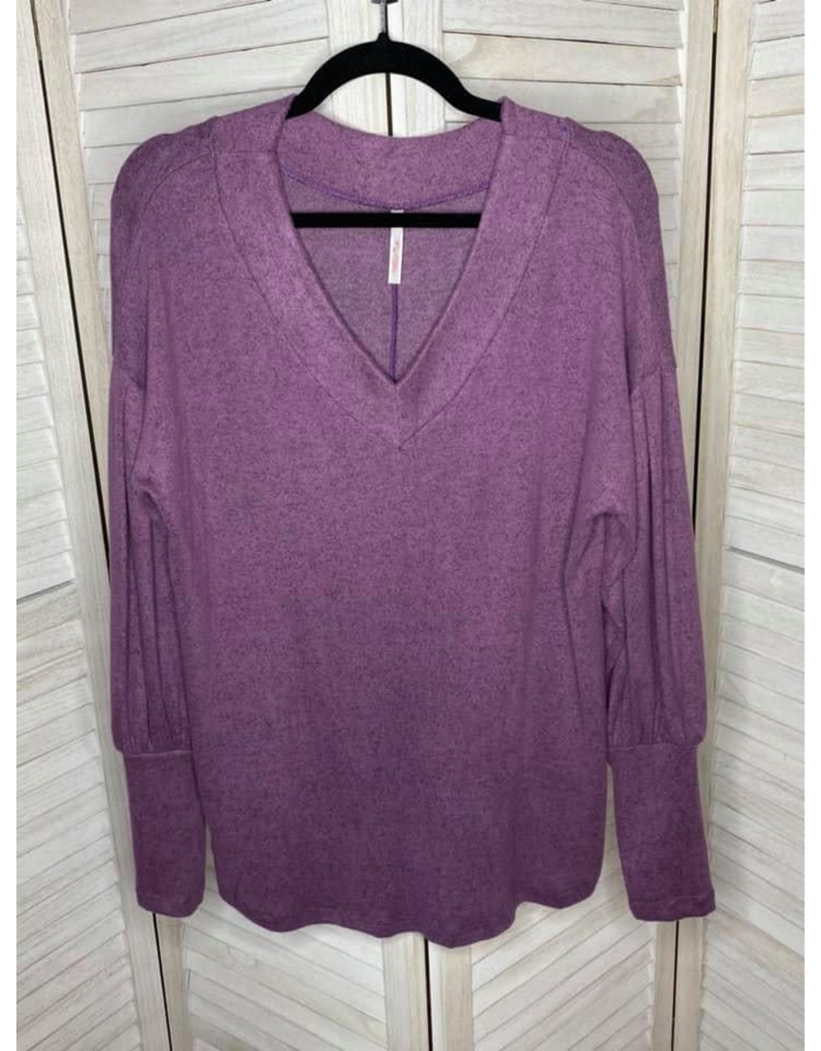 My Story Long Bishop Sleeve V Neck Top Purple