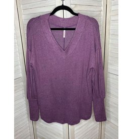 My Story Long Bishop Sleeve V Neck Top Purple