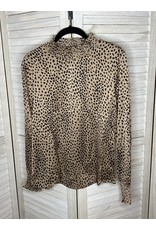 Hayden Animal Print Smocked Neck and Long Sleeves Taupe