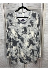 Crepas Tie Dye Print Puff Sleeve Plus Tunic Gray - Plus