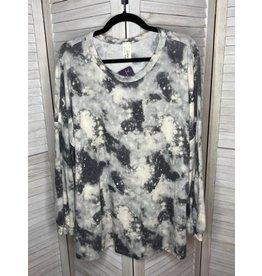 Crepas Tie Dye Print Puff Sleeve Plus Tunic Gray - Plus