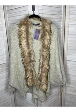Doe & Rae Fur Detail Cardigan with Back Tie Taupe
