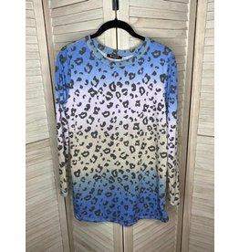 Bom Bom Animal Print Top Blue