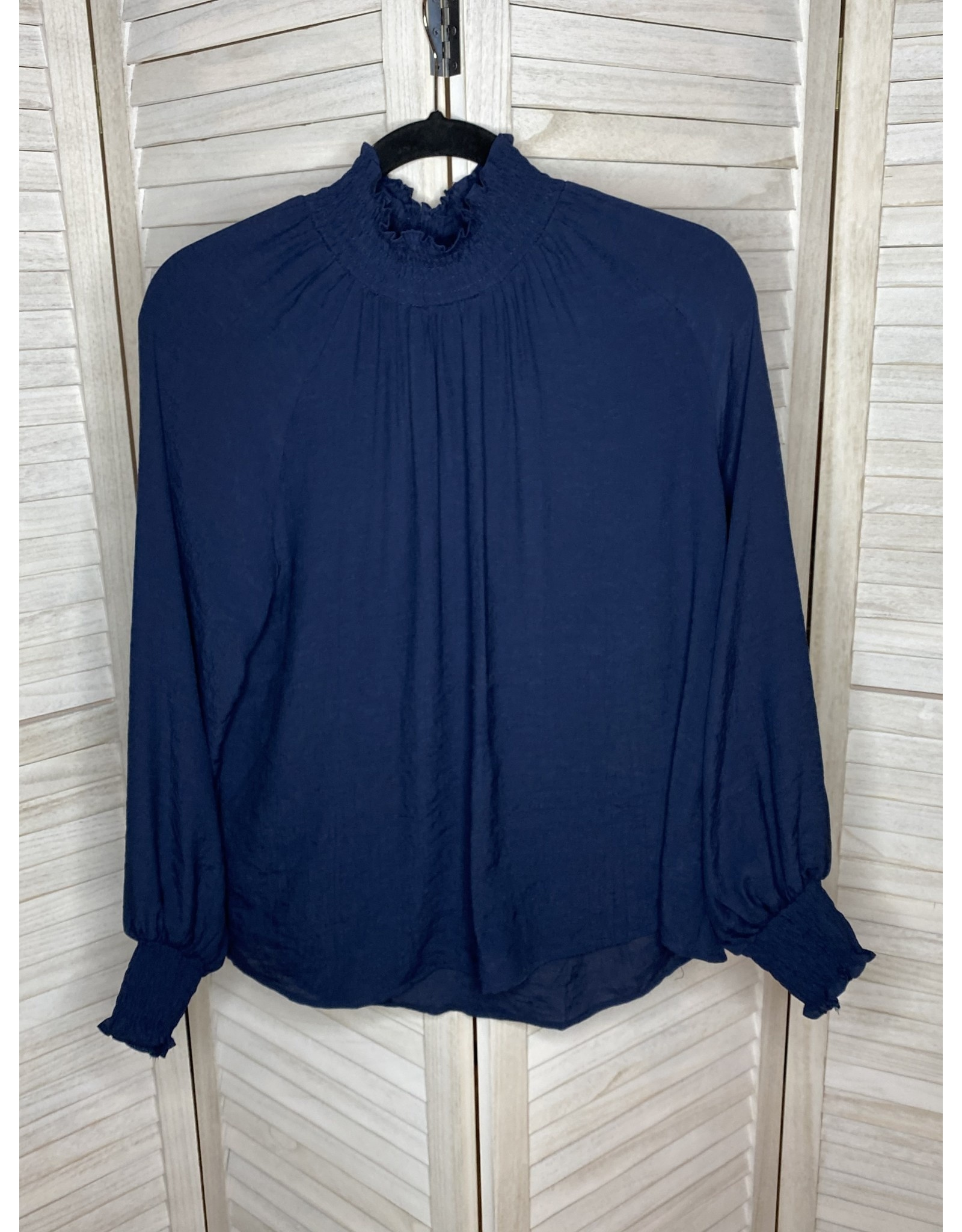 PS Kate Smock Neck and Cuff Top Navy