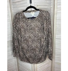 Macaron Leopard Soft Knit Top with Balloon Sleeves