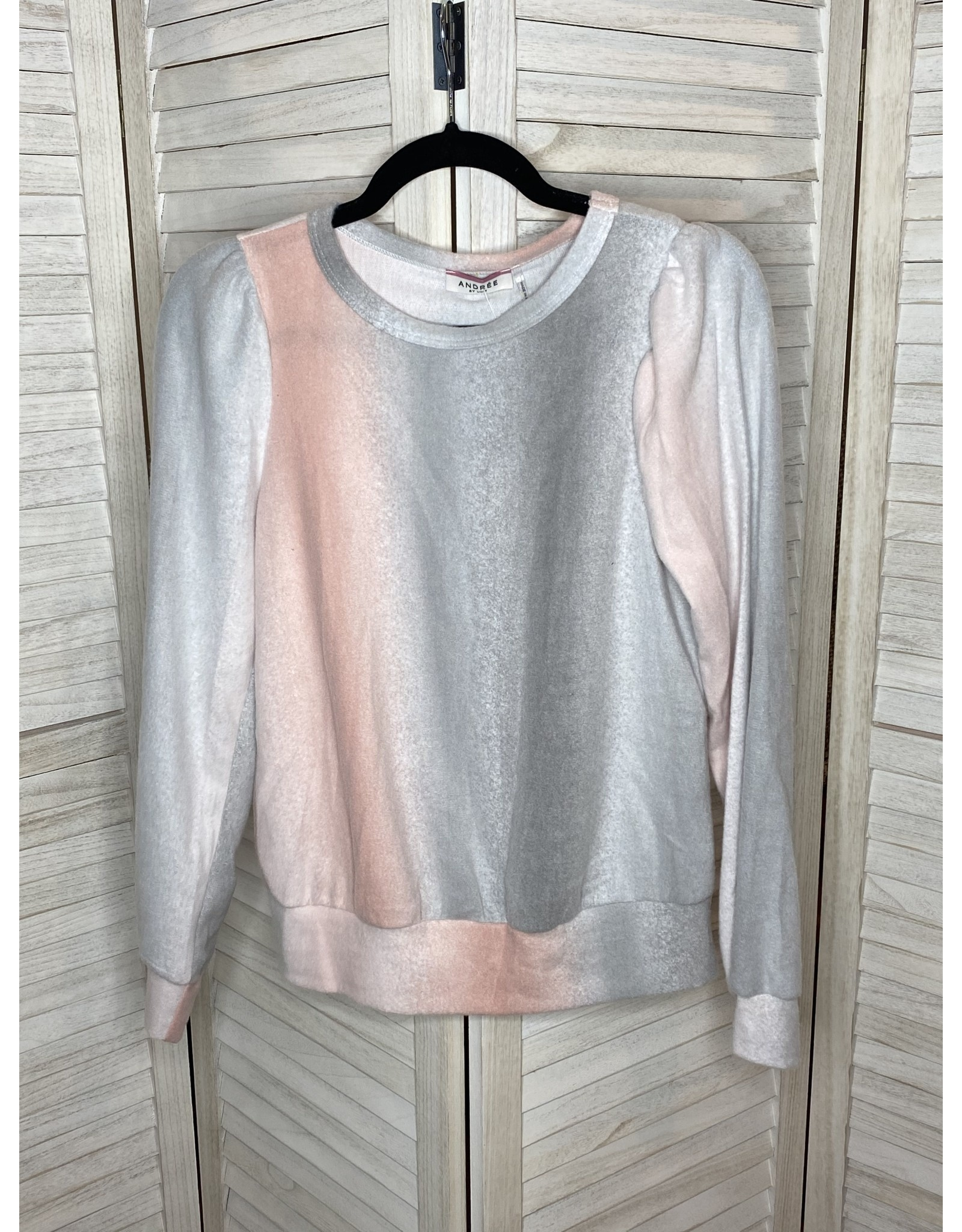 Andre by Unit Ombre Brushed Knit Top with Round Neck Banded Sleeves