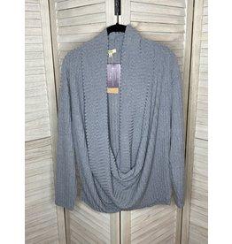 Kori America Soft Draped Drop Shoulder Knit Top