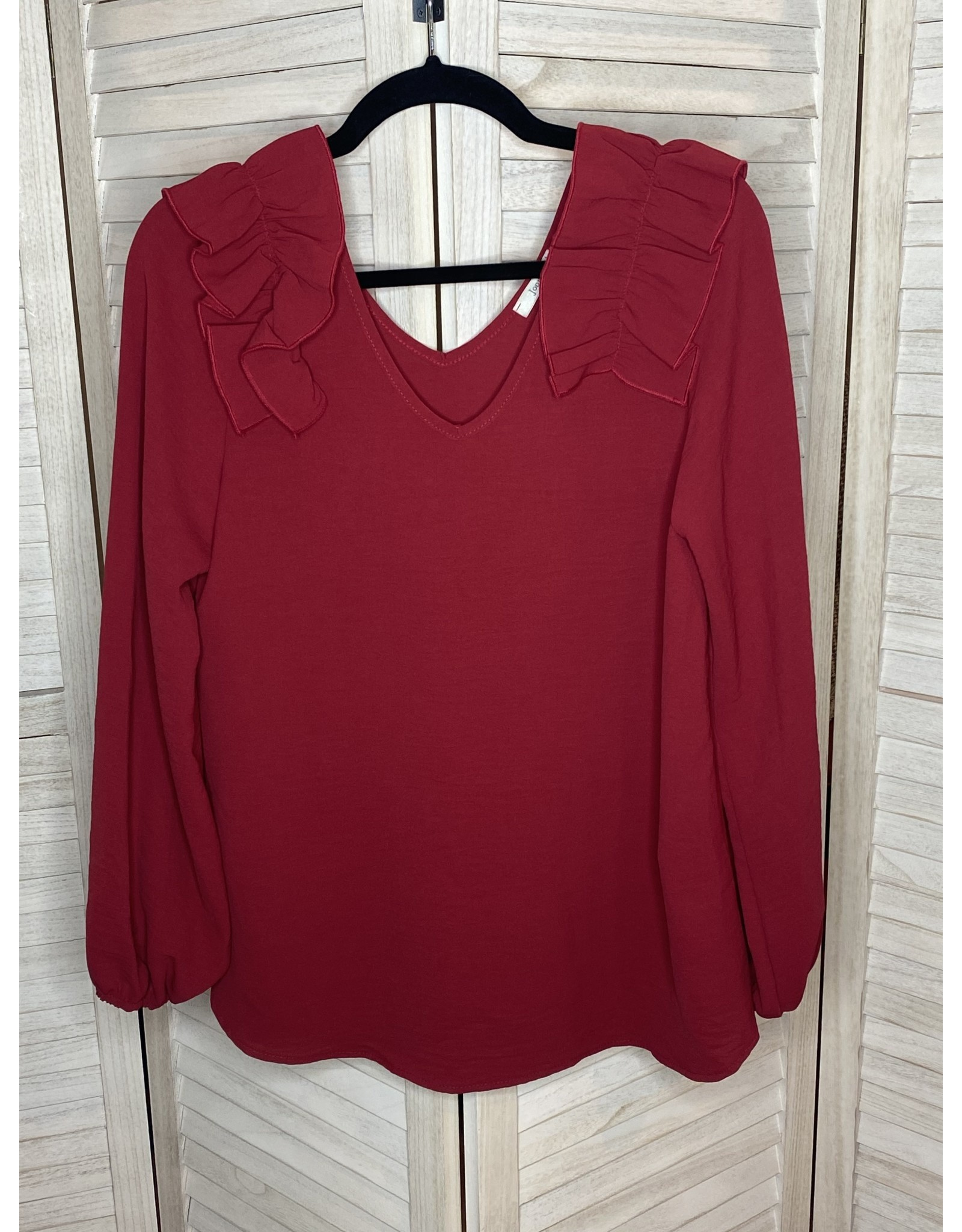 Jodifl Long Sleeve Ruffle at Shoulder  Top Burgundy