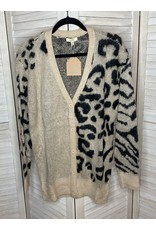 Kori America Button Down Animal Combo Cardigan