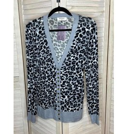Zenana Animal Print Cardigan - Grey