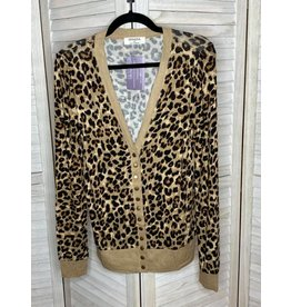 Zenana Animal Print Cardigan Tan/Brown