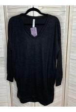 Zenana Knit Sweater Tunic Black