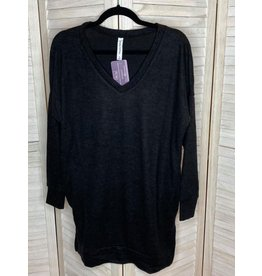 Zenana Knit Sweater Tunic Black