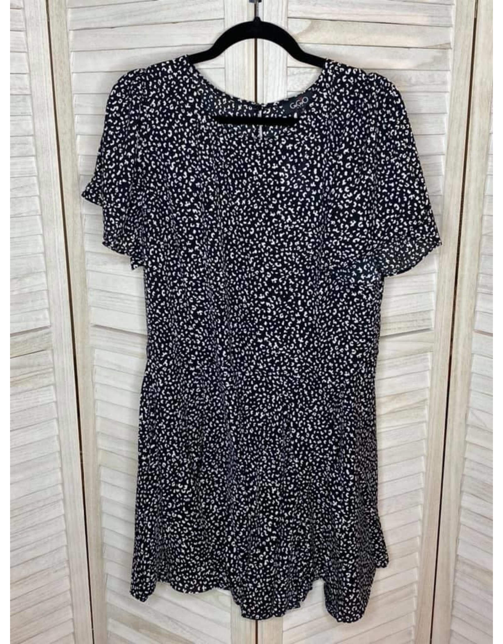 Gigio Leopard Print Insert Hem Dress With Flutter Sleeves