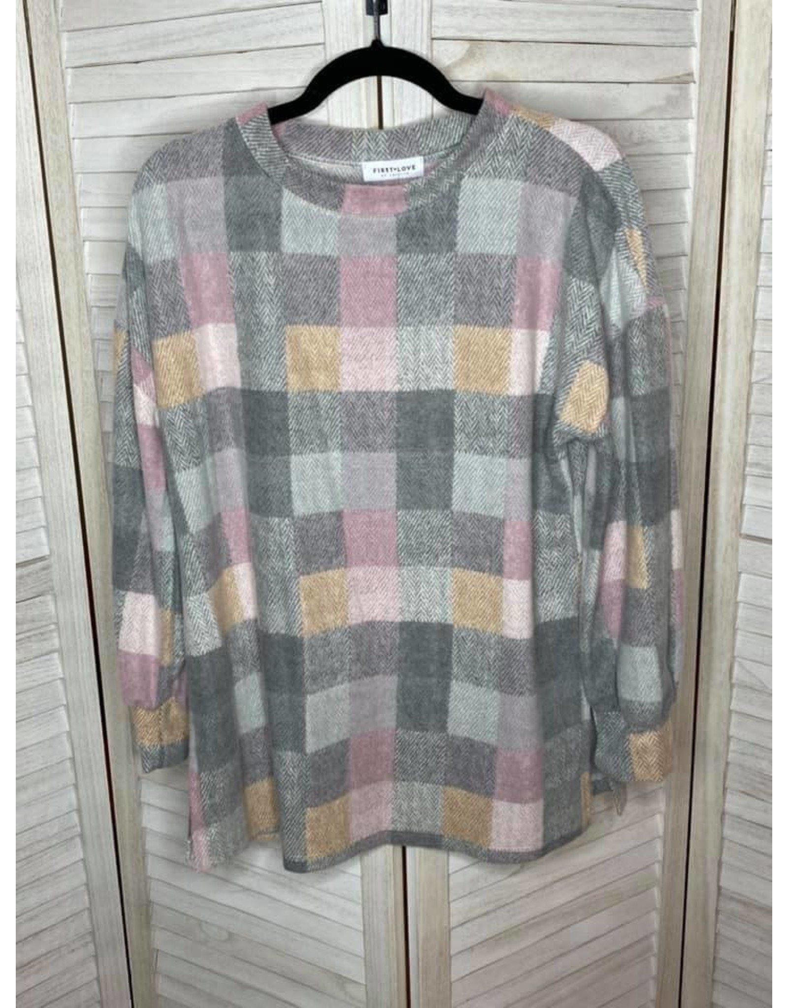 First Love Plaid Print Long Sleeve Top With Side Slits