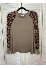 e. Luna Solid Jersey And Paisley Print Long Sleeve Top